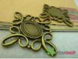 Antique Brass Oval Cabochon Frames - 10mmx14mm - 5 PCS (JCF103)