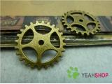 Antique Brass Pendants - Gear - 25mm - 10 PCS (JP9)