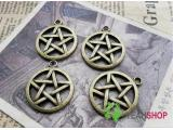 Antique Brass Pendants - Star - 25mmx29mm - 10 PCS (JP10)