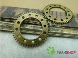Antique Brass Pendants - Gear - 25mm - 10 PCS (JP14)