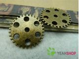 Antique Brass Pendants - Gear - 25mm - 10 PCS (JP16)