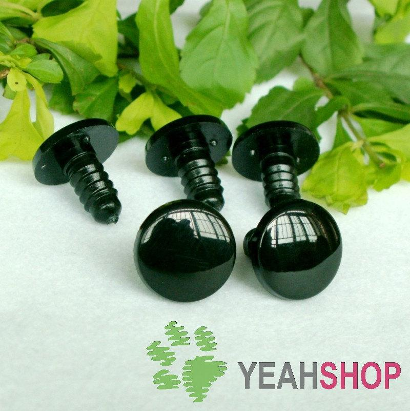15mm Black Round Flat Eyes / Plastic Eyes - 5 Pairs