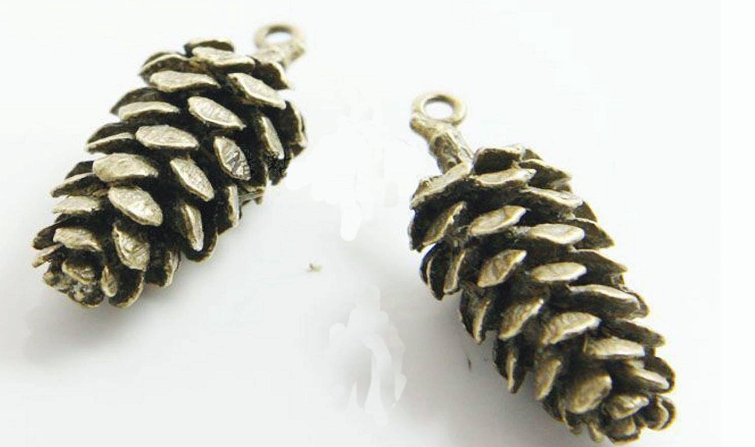 Antique Brass / Antique Silver Alloy Pendants - Pinecone - 15mmx41mm - 3 PCS (JP271)