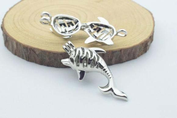 Silver Tone Alloy Wish Box / Locket Pendants - Dolphin - 20mmx42mm - 3 PCS (JP246)