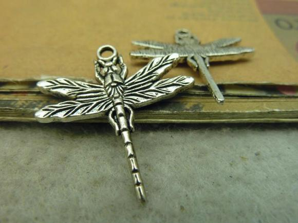 Antique Silver Alloy Pendants - Dragonfly - 29mmx31mm - 10 PCS (JP228)