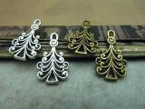 Antique Brass / Antique Silver Alloy Pendants - Christmas Tree - 13mmx22mm - 50 PCS (JP238)