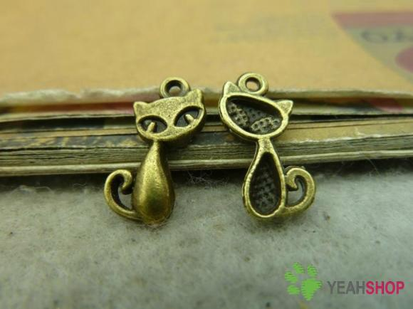 Antique Brass Pendants - Cat - 10mmx17mm - 50 PCS (JP66)