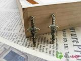 Antique Brass Pendants - Sword - 13mmx28mm - 30 PCS (JP71)