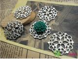 Silver Color Pendants - Flower - 28mm - 10 PCS (JP73)