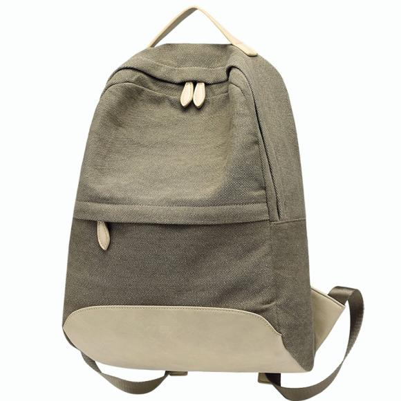 Double Shoulder Bag Female Leisure Simple Canvas Large Capacity Backpack