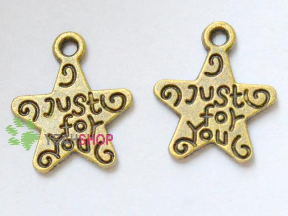 Antique Brass Star Pendants - Just for you - 12mmx14mm - 50 PCS (JP107)