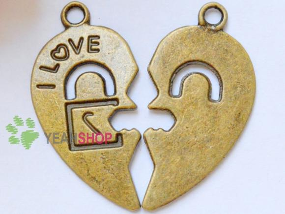 Antique Brass Pendants - Love You - 30mmx27mm - 10 PCS (JP114)