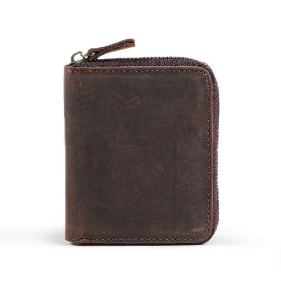 Handmade Crazy Horse Leather Mini Short Zipper Vintage Purse Casual Matte Genuine Leather Wallet