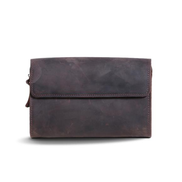 Crazy Horse Leather Men's Personalities Tide Vintage Clutch Bag Cowhide Leather Leisure Bag