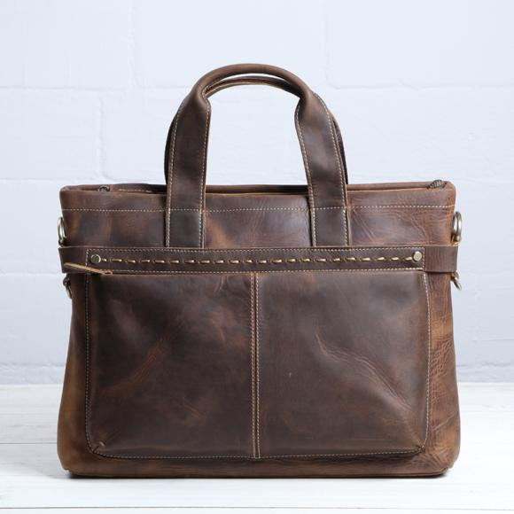 Crazy Horse Leather Bag Vintage Briefcase Handbag Leather Hand Shoulder Bag Messenger Bag