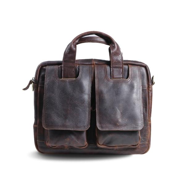 Wax Leather Man's Leisure Business One Shoulder Messenger Bag Handmade Leather Vintage Package