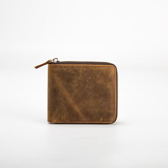 Manual Simple Men's Retro Leather Wallet Short Crazy Horse Casual Leather Zip Around Wallet