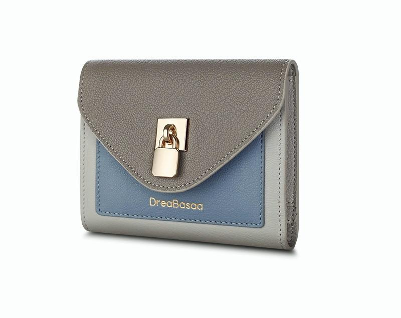 Women's Short Simple Thin Leather Wallet Multi-functional Three Folding Personality Clutches