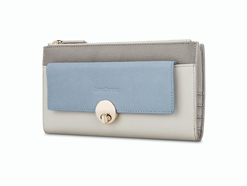 Women's Large Zip Leather Handbag Simple Clutch Bag