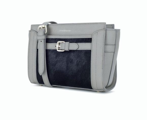 Satchel Female Cow Leather Simple Bag Horse Hair Shoulder Bag