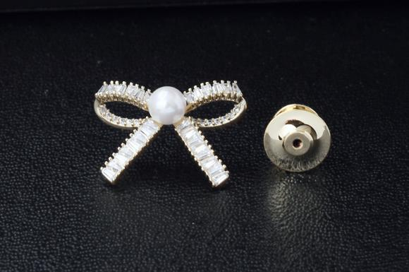 Women's Pearl Bowknot Brooch Pin Suits Dress Collar Hat Brooch Pin (YBOP194)