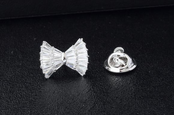 Women's Silver Bowknot Brooch Pin Suits Dress Collar Hat Brooch Pin (YBOP191)