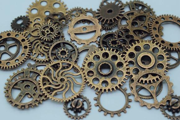 Antique Copper Alloy Pendants - Gear / Watch / Steam Punk Mixed - About 100 PCS (JP142)