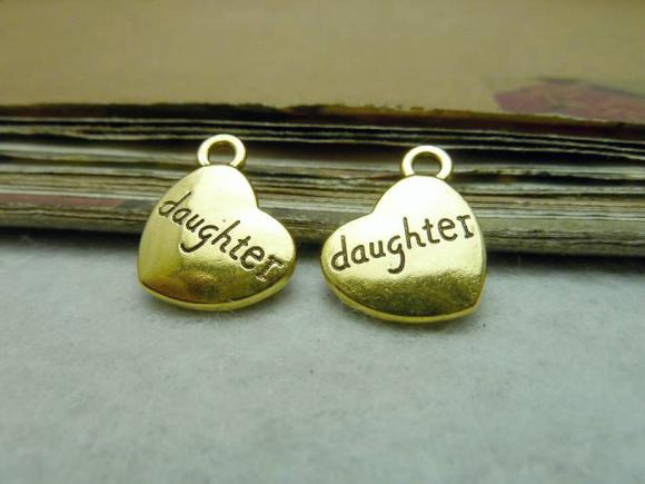 Antique Gold Alloy Pendants - Daughter - 15mmx18mm - 30 PCS (JP284)