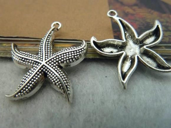 Antique Silver Alloy Pendants - Starfish - 26mm - 10 PCS (JP287)