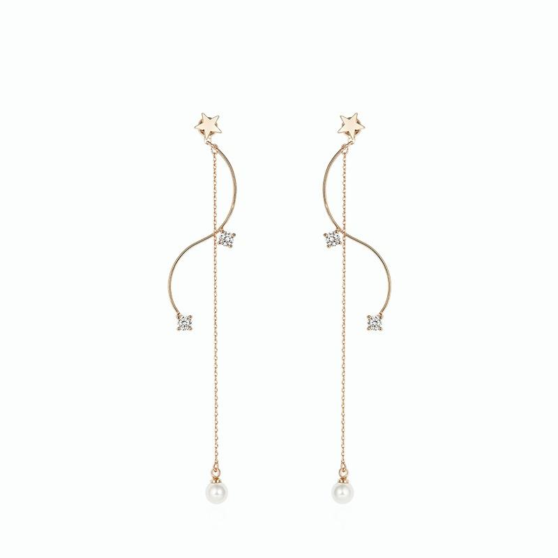Alloy Long Earrings for Grils for Gril - Star (JSE2)