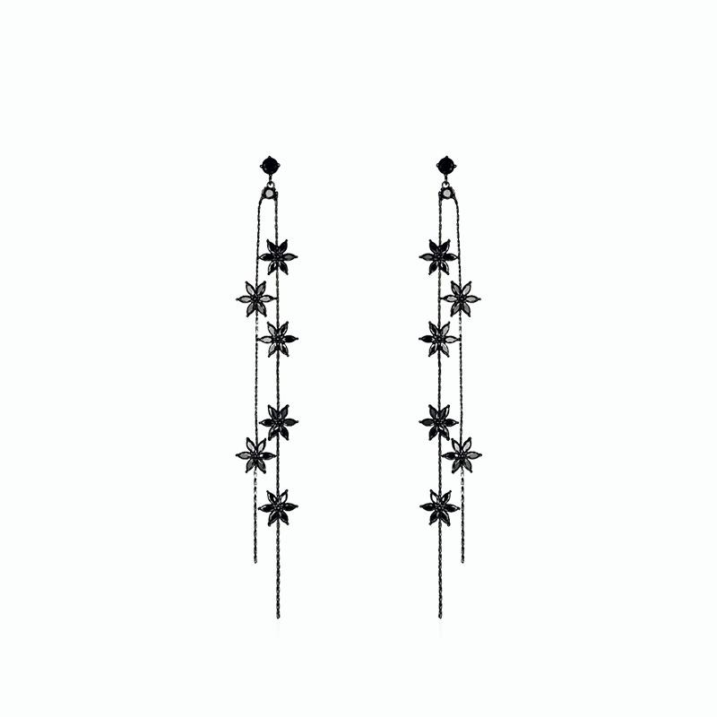 Alloy Long Earrings for Grils - Tassel Black Flower (JSE5)