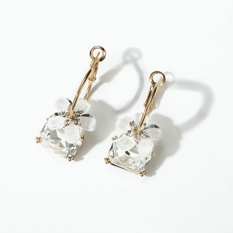 Alloy Artificial Gem and FLower Earrings for Grils (JSE7)