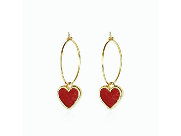 Alloy Red Heart Earrings for Gril - Lovely Heart (JSE8)