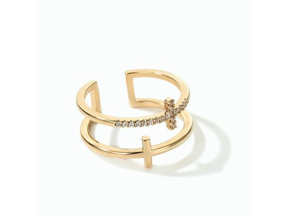 Alloy Adjustable Ring for Gril - Cross Double Layer (JSR1)