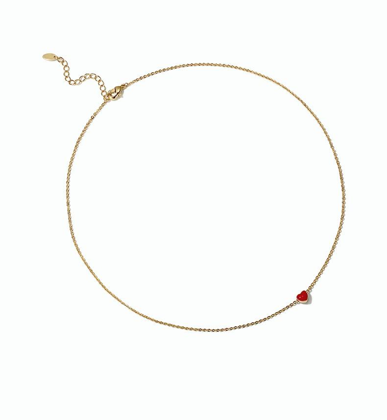 Alloy Red Heart Golden Necklace for Gril (JSN1)