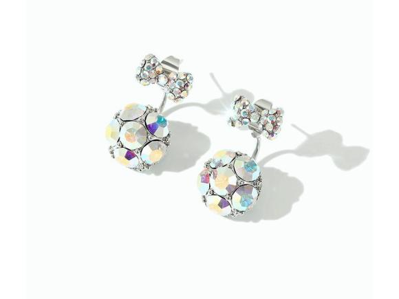 Alloy Bow-knot Gem Earrings for Gril (JSE10)