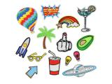 20 pcs of Wholesale Iron on Fabric Patch for Clothing / Bulk Embroidered Sew on Applique Cute Patch Fabric Badge Garment DIY Apparel Accessories - Tree rocket hot air balloon (WFB-18)