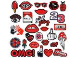 20 pcs of Wholesale Iron on Fabric Patch for Clothing / Bulk Embroidered Sew on Applique Cute Patch Fabric Badge Garment DIY Apparel Accessories - Red British style (WFB-19)