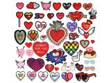 20 pcs of Wholesale Iron on Fabric Patch for Clothing / Bulk Embroidered Sew on Applique Cute Patch Fabric Badge Garment DIY Apparel Accessories - Lovely heart (WFB-20)