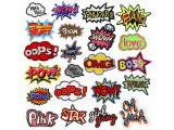 20 pcs of Wholesale Iron on Fabric Patch for Clothing Hat / Embroidered Sew on Applique Cute Patch Fabric Badge Garment DIY Apparel Accessories - Cartoon text (WFB-25)