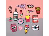 20 pcs of Wholesale Iron on Fabric Patch for Clothing Hat / Embroidered Sew on Applique Cute Patch Fabric Badge Garment DIY Apparel Accessories - Hamburg cola fries Ice cream camera (WFB-26)