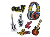 10 pcs of Wholesale Iron on Fabric Patch for Clothing / Bulk Embroidered Sew on Applique Cute Patch Fabric Badge Garment DIY Apparel Accessories - Music guitar headphones (WFB-28)