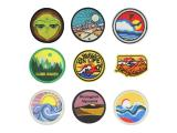 10 pcs of Wholesale Iron on Fabric Patch for Clothing / Bulk Embroidered Sew on Applique Cute Patch Fabric Badge Garment DIY Apparel Accessories - Circular abstract painting (WFB-30)