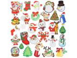 20 pcs of Wholesale Iron on Fabric Patch for Clothing Hat / Embroidered Sew on Applique Cute Patch Fabric Badge Garment DIY Apparel Accessories - Santa Claus Christmas deer bell tree (WFB-31)