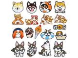 10 pcs of Wholesale Iron on Fabric Patch for Clothing Hat / Embroidered Sew on Applique Cute Patch Fabric Badge Garment DIY Apparel Accessories - Shiba Inu (WFB-54)