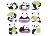 10 pcs of Wholesale Iron on Fabric Patch for Clothing Hat / Embroidered Sew on Applique Cute Patch Fabric Badge Garment DIY Apparel Accessories - Cute Panda (WFB-55)