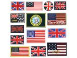 20 pcs of Wholesale Iron on Fabric Patch for Clothing Hat / Embroidered Sew on Applique Cute Patch Fabric Badge Garment DIY Apparel Accessories - UK. US. Flag (WFB-61)
