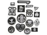 20 pcs of Wholesale Iron on Fabric Patch for Clothing Hat / Embroidered Sew on Applique Cute Patch Fabric Badge Garment DIY Apparel Accessories - Black and white theme (WFB-66)