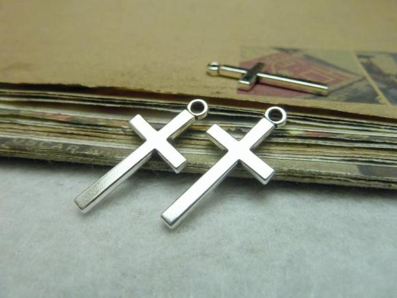 Silver Tone Pendants - Cross - 13mmx27mm - 50 PCS (JP126)