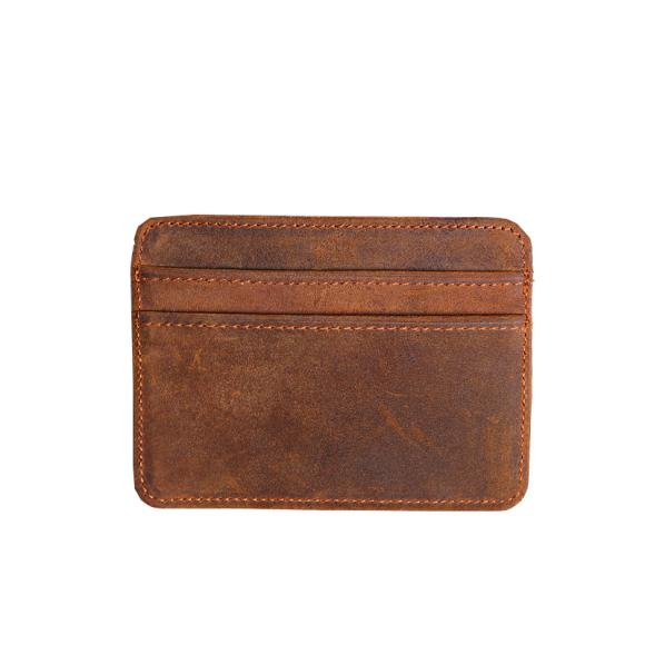 Handmade Vintage Crazy Horse Leather Mini Wallet Thin Leather Card Holder